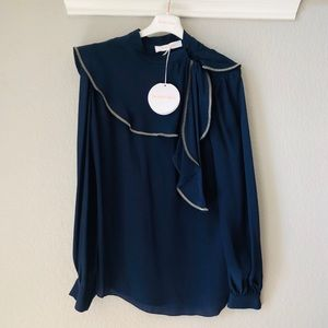 See by Chloe Navy Silk Blouse